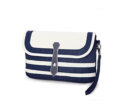WOMJIA Marine-blaue Streifen Kleine Schultertasche tragbare Tasche (Marine-blau-handtasche)