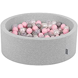 KiddyMoon 90X30cm/200 Balles ∅ 7Cm Piscine À Balles pour Bébé Rond Fabriqué en UE, Gris Clair: Perle-Gris-Transparent-Rose Poudré