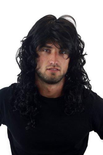 Rocker-Perücke lockig schwarz GFW806-1B Herrenperücke Lang Heavy Metal Metaler (Männer Lange Haare Für Perücken)