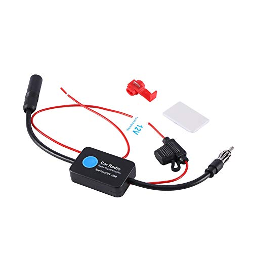 FM Antenne Verstärker,Universal 12V Auto FM Radio Antenne Verstärker,mit Kleber und Roter Clip,für Fahrzeug Autoradio