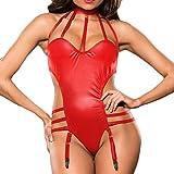 POIUDE Mode Frauen Sexy Leder Dessous Verband Body Reizwäsche Lackleder Clubwear Siamesisch Jumpsuits Nachtwäsche(Rot, XL)