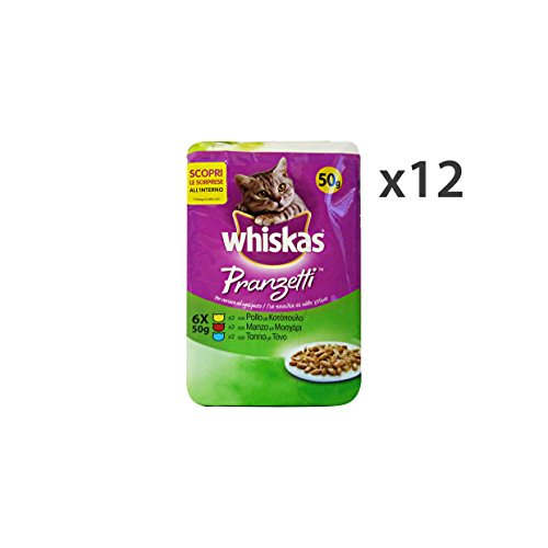 Whiskas Set 12 PRANZETTI X 6 Bustine Pollo-Manzo-Tonno AE14T Cibo per Gatti