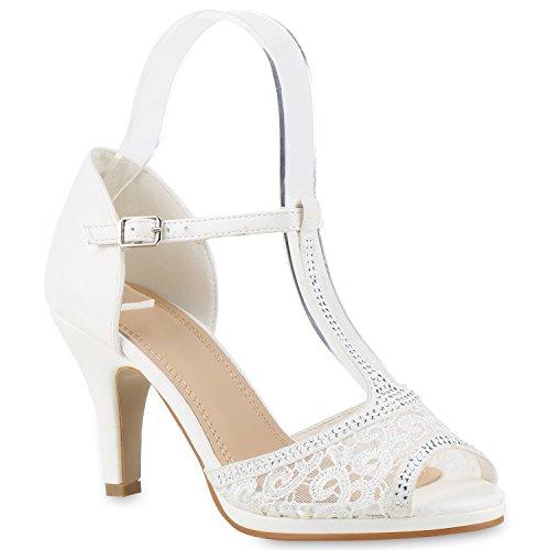 Damen Riemchensandaletten | Glitzer Sandaletten Metallic | Stilettos High Heels | Sommer Party Schuhe | Abiball Hochzeit Brautschuhe Weiss Spitze