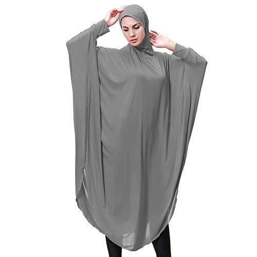 URIBAKY Damen Schlank Muslimische Robe Solide Lange Ärmel Dubai Kleider Damen islamishen Kleid Islamische Kleidung Lange Mode Kleider Lady Daily Casual
