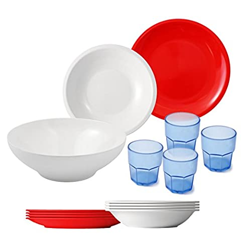 cartaffini–Camping Set White/Red, 14pieces: 1Salad Bowl, 4Dinner Plates, 4Side Plates, 4Cups, 1Bag