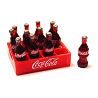 Tumdee Miniatures Dolls House Plastic Coke Crate with 12 Bottles