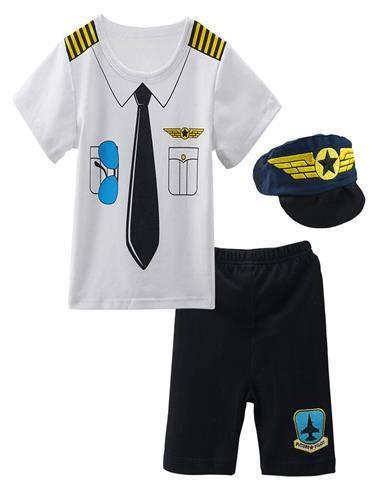 Mombebe Baby Jungen Pilot Halloween Kostüm Kurz Bekleidung Set mit Hut (Pilot, 12-18 Monate)