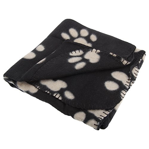 Hundedecke / Haustierdecke / Fleece-Decke mit Pfoten-Muster (100 x 70 cm) (Beige) - 2