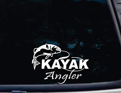 CELYCASY Kajak Angler! Vinyl-Fensteraufkleber mit Fisch, lustig, gestanzt [a-1556] -