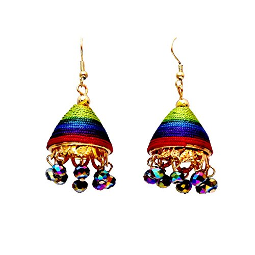 A K Creation Multi Thread Metal Earring-Multi-Colour For Women/Girls