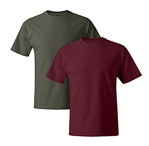 Hanes Mens 5180 Short Sleeve Beefy T 1 Cardinal / 1 Fatigue Green