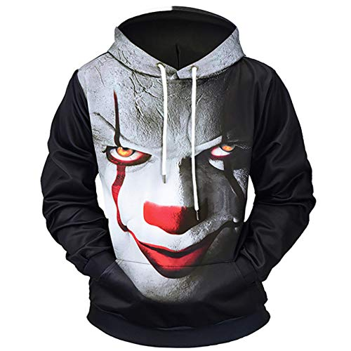 QMKJ Clown 3D-Prints Pullover Winter Hoodie Sweatshirt Hooded Lightweight with Adjustable Hood Front Pockets for Mens Great for Walking Jogging Unisex,XXL