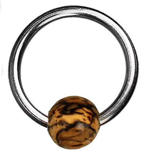 Chic-Net Tamarindenholz Universal Piercing Klemmkugel Ring silbern hell Septum Helix Tragus Captive Bead Holz Edelstahl Damen Herren 1mm 1.2mm 1.6mm Nippelpiercing Körper Schmuck