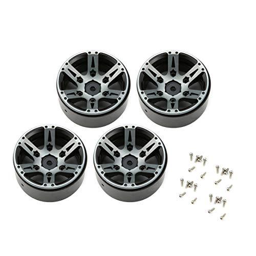 Kongqiabona 4pcs T-Power 1.9 Inch RC Tires Beadlock Alloy Wheels Hub Beadlock Rim Set for 1/10 RC Car RC Component Spare Parts Accessories