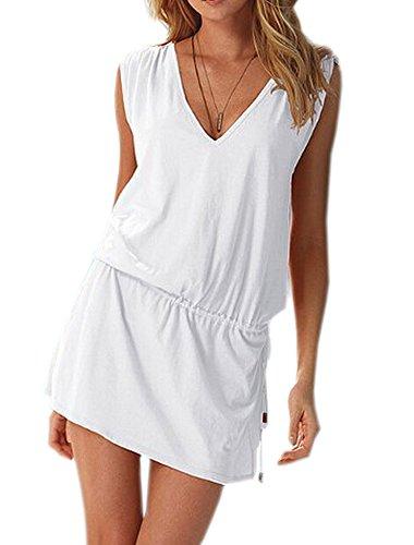 DELEY Donne Profondo Scollo a V Swim Beach Dress Aperto-back Beach Cover Up Tuniche Bianco
