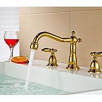 JIUUIHF finitura oro bagno doppio manico a tre fori rubinetto del bacino