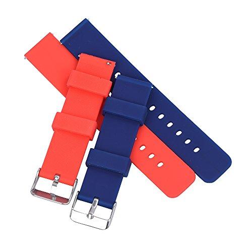 Randon Silikon Uhrenarmband Soft Rubber Schnellwechsel Ersatzband 18mm 20mm 22mm mit Riemen Werkzeug, 2 Stück …