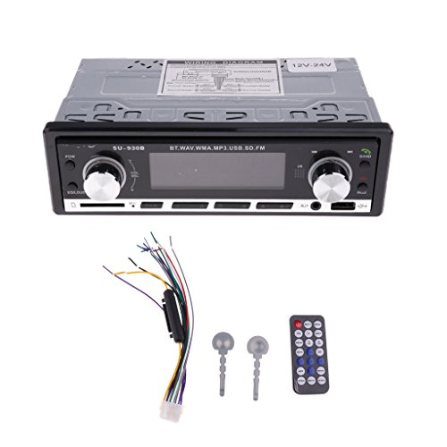 JSD-930B 24V/12V Bluetooth Car Stereo Radio Audio In-Dash Headunits 1DIN USB/SD/MMC/AUX/MP3 Player - 24V