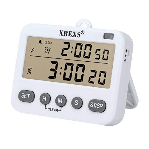 XREXS 4 in 1 Küchentimer Digital Magnetisch Kurzzeitmesser Küche mit Uhr, Wecker, Stoppuhr, Memory-Funktion, Einstellbare Lautstärke für Unterricht, Treffen, Prüfungen, Batterie enthalten (218)