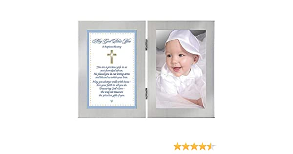 Add 4x6 Inch Photo Poetry Gifts poetrygifts-70-129 Baby Boy Gift Baptism Blessing Card in Double Frame