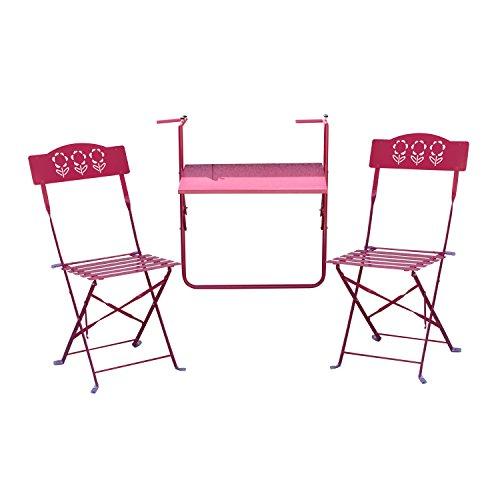 Outsunny - Set Tavolino da Appendere alla Ringhiera del Balcone con 2 Sedie Pieghevole in Ferro, Fucsia