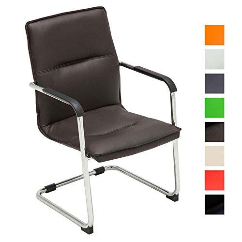 CLP Freischwinger-Stuhl mit Armlehne SEATTLE, Besucherstuhl, Konferenzstuhl gepolstert Braun