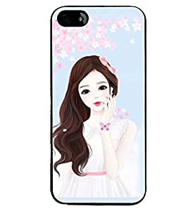 Printvisa Cute Girl Flower Shower Pic Back Case Cover for Apple iPhone 4S