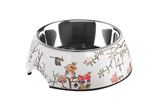 HUNTER Mogami Melamin-Napf, Futternapf, Trinknapf, für Hunde und Katzen, mit Edelstahlnapf, 350 ml, weiß/bunt