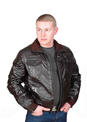 Herren Gepaßte Bomber Lederjacke Designer weiche hochwertige Mantel George Braun