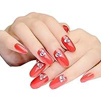 24 unidades Rojo largos artificiales falsa Faux Jewels Nails clavos Decor