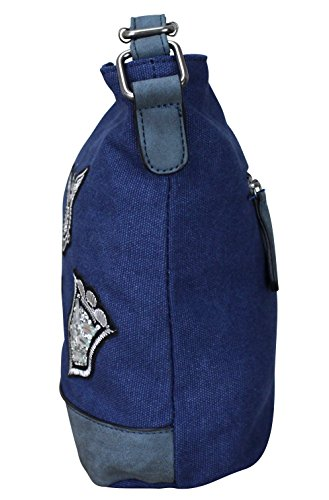 Damen Canvas STERN Sticker Handtasche Sterne Canvas TOP TREND Tragetasche M3 Blau