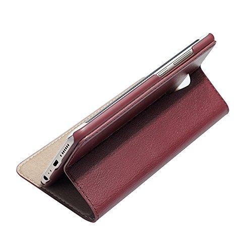 Vivo X9 Plus Etui,EVERGREENBUYING - Coque Portefeuille Cuir avec stand X9+ Premium Etui de Protection [avec fenêtre et fonction de support] Case Cover pour VIVO X9 Plus Noir Wine Rouge