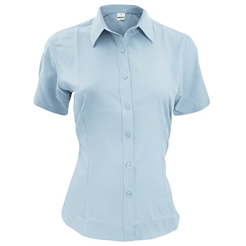 Henbury Damen Bluse / Arbeitshemd / Arbeitsbluse, kurzärmlig, anti-bakteriell Hellblau