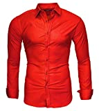 Kayhan Homme Chemise, Uni Manches Longues Alt Red (XXL)