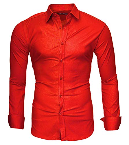Kayhan Uni Camicia Slim Fit, Red (XXL)