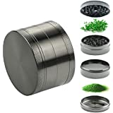 Home Inspira 2.5 Inches Zinc Manual Herb Grinder with Magnetic Top and Pollen Catcher, 4 Pieces Set