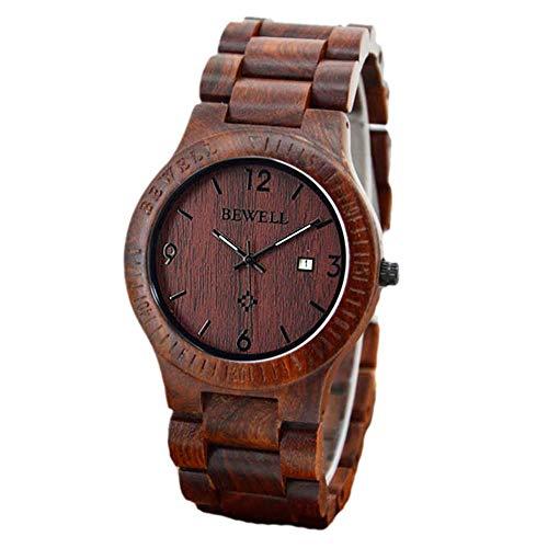 LD Herren Damen Armbanduhr Holz-Uhr Quarz Analog Datum Natural Sandelholz -