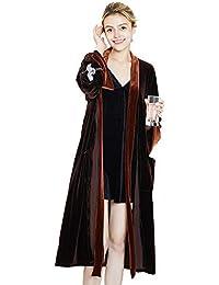 HOQTUM Damas Pijamas Parejas Camisón Mujer Primavera y otoño Invierno Manga Larga Bata de baño Plus