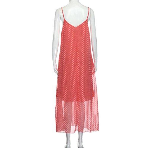 Tefamore Damen Punkt Gedruckt Chiffon mit V Ausschnitt Klammer Rock, Boho Lang Beiläufige Tägliche Strand Kleid mit Tasche Rosa