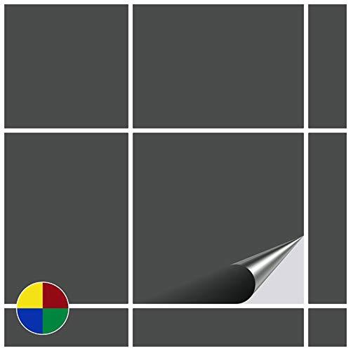 FoLIESEN Fliesenaufkleber 10x10 cm - Fliesen-Folie Bad - Klebefolie Küche - 20 Klebefliesen, Dunkelgrau glänzend