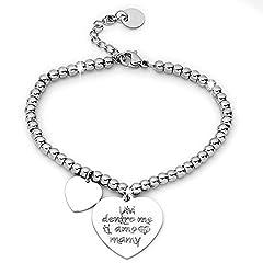 Idea Regalo - Beloved ❤️ Bracciale da donna, braccialetto in acciaio emozionale - frasi, pensieri, parole con charms - ciondolo pendente - misura regolabile - incisione - argento MF7
