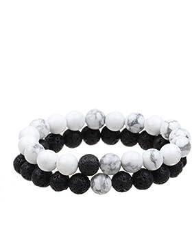ISHOW Yin-Yang Balance Schwarz Lava Rock und Weiß Howlite Stein Sein und ihr Paar Entfernung Armband (2 Stück)