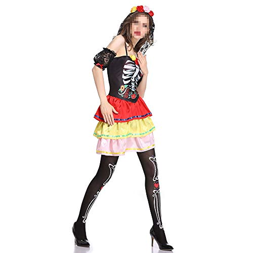 Ghost Braut Kostüm - kMOoz Halloween Kostüm,Outfit Für Halloween Fasching Karneval Halloween Cosplay Horror Kostüm,Halloween Rose Print Ghost Braut Kleid Ostern Wunderschöne Dress Up