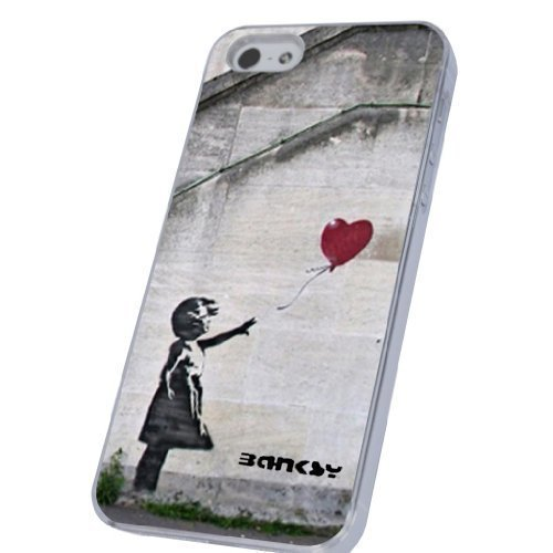 Banksy Graffiti Art Ballon Girl Design-iphone 5 5S Case/Back cover Metal and Hard Plastic Case-Clear Frame