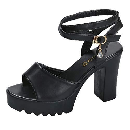 Moda Tacco Alto Sandali da Casuale,Tacchi Alti Scarpe Zeppe Aperto Tacco Quadrato Donna Basic Basic Tacco a Blocco Alto (40, Black)