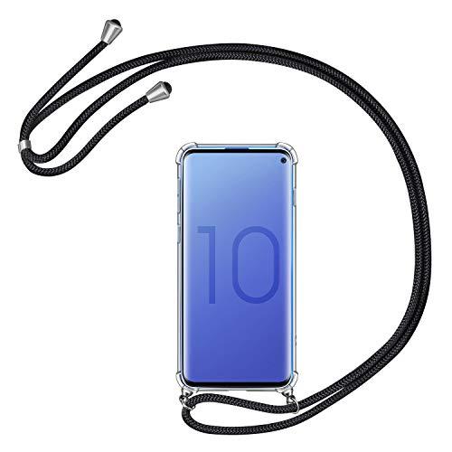 AROYI Handykette Handyhülle für Samsung Galaxy S10 Hülle mit Kordel zum Umhängen Necklace Hülle mit Band Schutzhülle Transparent Silikon Acryl Case mit extra Fallschutz für Samsung Galaxy S10