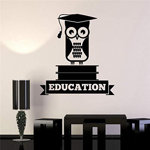 xingbuxin Vinyl wandaufkleber Bildung Eule Buch Schule Aufkleber Kunst Dekoration Dekoration abnehmbare Vinyl Kindergarten kinderzimmer wandaufkleber rot 87X 93 cm