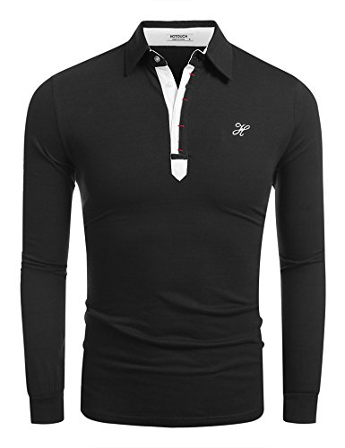 HOTOUCH Men's Casual Button Up Slim Fit Trendy Polo T-Shirt