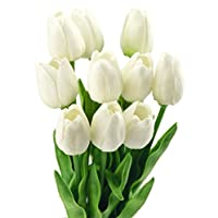 FiveSeasonStuff 10 Stems of Real Touch Tulip Artificial Flowers Bouquet, Perfect for Wedding, Bridal, Party, Home, Holidays, Garden, Birthday, Office Décor DIY (White)