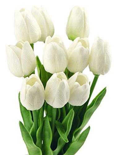 10 Stück Tulpen Gefühlsecht (Real Touch) Künstliche Blumen-Bouquet Dekoration, ideal für die Hochzeit, Braut, Party, Zuhause, Büro Dekor DIY (Weiß)